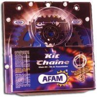 Kit chaine AFAM acier GAS-GAS 50 ROOKIE EC pas 420 2002 à 2005